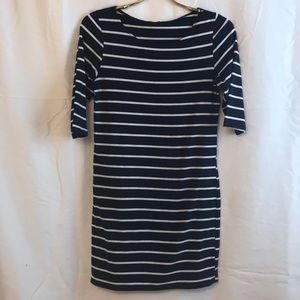 Navy and white striped 1/2 sleeve mini dress